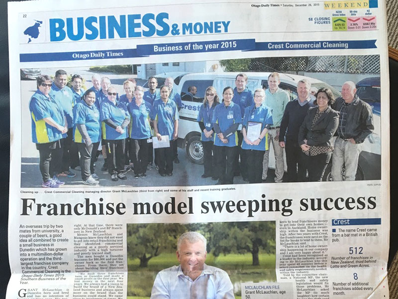 CrestClean is the Otago Daily Times 2015 Southern Business of the Year.