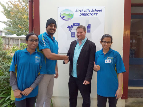 Upper Hutt franchisees Daler Singh, Hanspreet Hari and Navneet Kaur received positive feedback about the services they are providing Birchville School from Principal Simon Kenny.