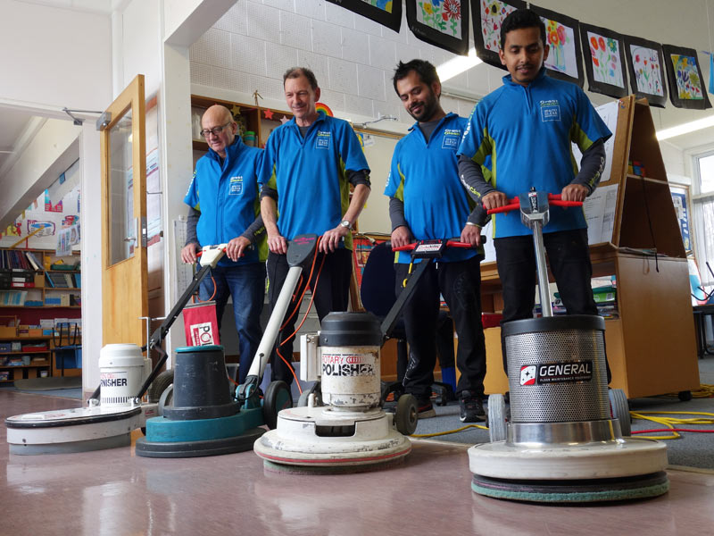 These Tauranga franchisees are all clued up on the latest in hard floor care after attending the upskilling course. With their machines are Neville Hall, Malcolm Brown, Rohit Chawla and Devidas Unni.
