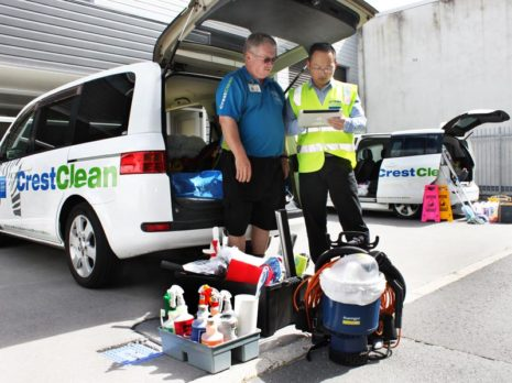 Richard Kemm has his vehicle and cleaning equipment checked by Jason Cheng, Crest's Waikato/Bay of Plenty Quality Assurance Co-ordinator.