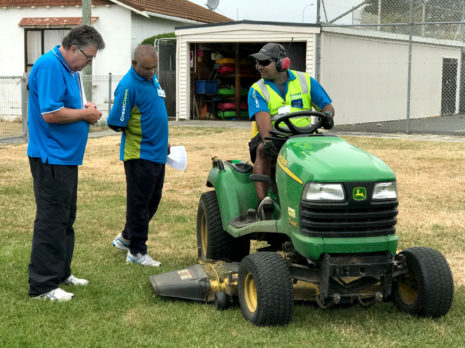 Adam Hodge assessing Satish Kumar and Dan Pariachi during the training for Crest PropertyCare personnel.