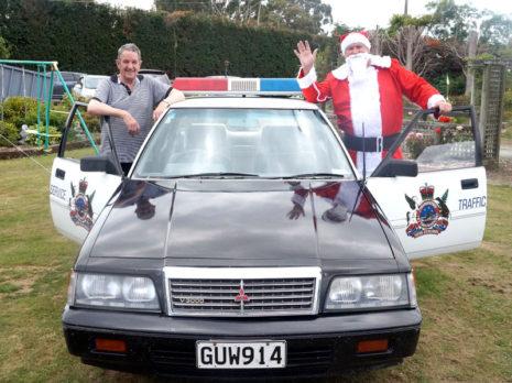 Santa turned up in an original Ministry Of Transport Patrol Car.