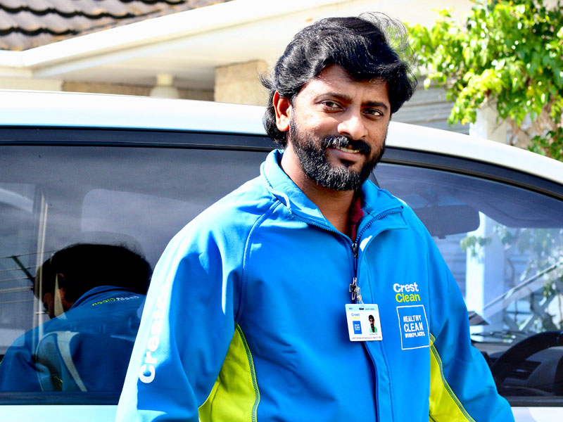 Jijoy Johny says he loves running his own cleaning business.