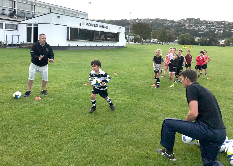 Youngsters get going during the Dunedin coaching session at Southern RFC, Bathgate Park.
