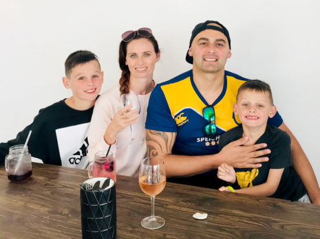 Nicky and Tony Kramers with their children Isaac, 11, Nicholas, 8, pictured during their family holiday to Mount Maunganui after winning the Master Franchisee of the Year Award.