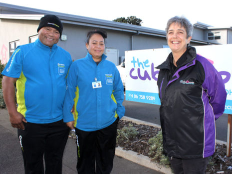 The Cubby House Centre Manager Lyn Coulton with CrestClean business owners Afelee Niumea and Makalita Afelee.