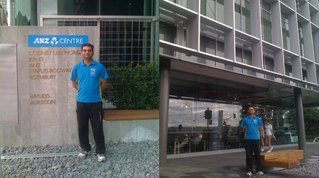 Pinakin Patel is proud to be cleaning in the new ANZ Centre, a brand new office complex in Tauranga