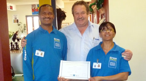 Pictured is Harry and Genevra Ficks receiving their long Service Award for 3 years service to Crest Invercargill.