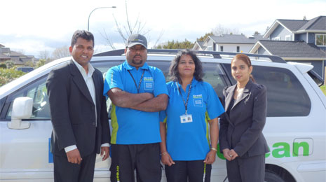 Pictured from left to right are CrestClean Regional Director Viky Narayan, New Franchisees Seshli and Rajesh, and CrestClean Regional Director Nileshna Narayan