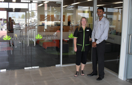 Clinic Manager Adrienne Carter with Neil Kumar at new Silverdale Medical Cente