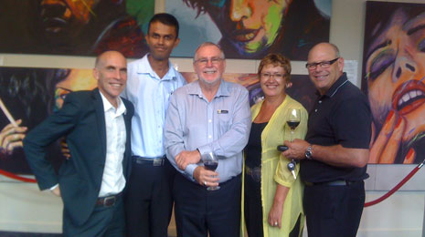 Pictured from left to right is the Principal of Pinehill School Julien Le Sueur, CrestClean North Shore Regional Manager Caroline Wedding, Principal of Murrays Bay School Ken Pemberton, CrestClean North Harbour Regional Manager Neil Kumar, and far left is Mike Crawshaw from Distinction Furniture.