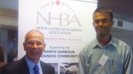 North Harbour Regional Director Neil Kumar at the North Harbour Business Association lunch meeting with Mayor Len Brown
