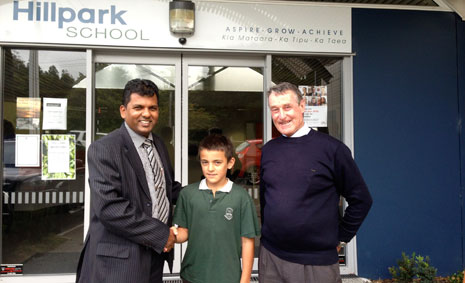 Pictured left to right, CrestClean South Auckland Regional Director Viky Narayan, student Reno Wright and Hillpark School Deputy Principal Terry O'Meara