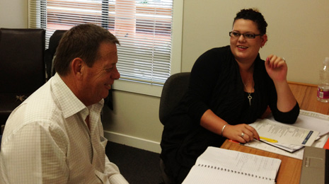 Pictured is Mel Fearn talking training with CrestClean's National Quality/Training Manager Chris Chapman