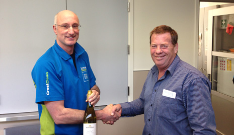 Photo National Quality/Training Manager Chris (Chappy) Chapman and franchisee Paul Admiraal