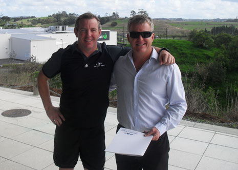 Pictured above is CrestClean Managing Director Grant McLauchlan and Northern Arena's Manager Paul Farnan