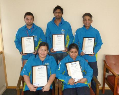 Pictured is the famous Five – Varender Singh, Rakesh Kumar, Siva Krishnan, Ofelia Barberan and Vasantra Velayudhan.