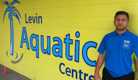 Pictured is Franchisee Tepuke Pola outside the Levin Aquatic Centre