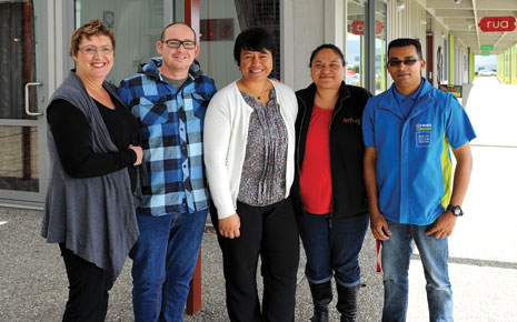 Pictured Here: (from left) Caroline Wedding, Jonathan Hickman (Amplify Project Researcher & High Tech Youth Studio Coordinator), Rebecca George-Koteka (Community Engagement & Enterprise Manager), Aroha Te Namu (Youth, Whanau and Learning Manager) and Naveen Chand (CrestClean Franchisee).