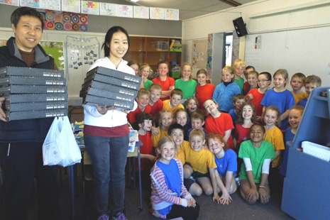Franchisees Michael and Emma with Pukeko Classroom
