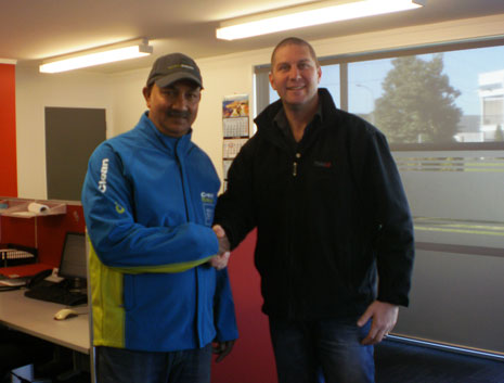 Pictured above is CrestClean Franchisee Vijay Nand with TVH New Zealand Ltd Director Brendan Chillingworth