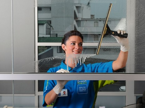 Cleaning your windows is one of many services CrestClean offers.
