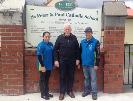 Pictured are CrestClean franchisees Helen and Gregorio with School Principal Paul Roche