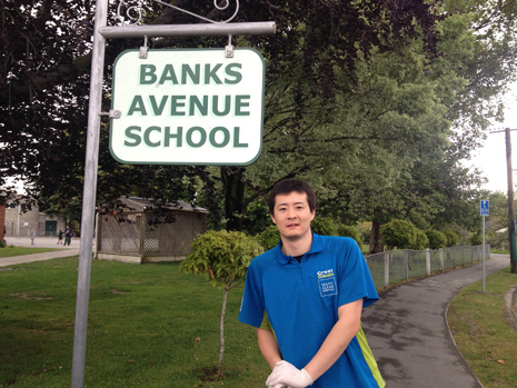 Pictured is CrestClean Franchisee Leo Li outside Banks Ave School