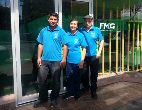 Pictured are CrestClean Franchisees Medina and William Pinto and Ronald Asre