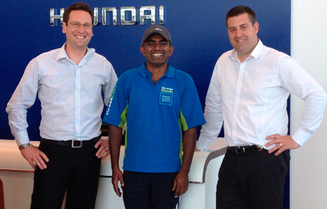 From left: Euan Means (Dealer Principal, Hyundai), Lakshman Jetti (CrestClean), and James Smith (Business Manager, Hyundai)