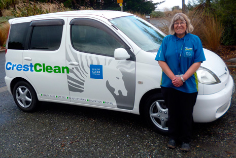 Julie Cameron with her spacious and stylish new CrestClean vehicle.
