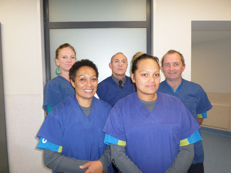 Hawkes Bay Franchisee Sophie Chase and her team, ready for hospital work, with Regional Director Abby Latu, left, with Regional Co-ordinator Gary Amy, center.