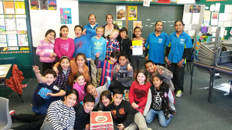 It was a pizza party for Room 9, with Wellington Franchisee Jiten Narayan and his Crest Team.