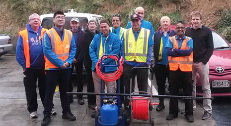 Instructor Leo Wang (West Auckland), second from left, with franchisees from Dunedin and Invercargill learning how to operate the Pure Water Cleaning system.