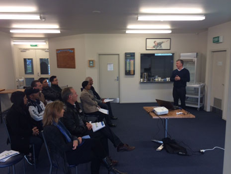 CrestClean Managing Director addressing Whangarei's franchisees at their first team meeting.