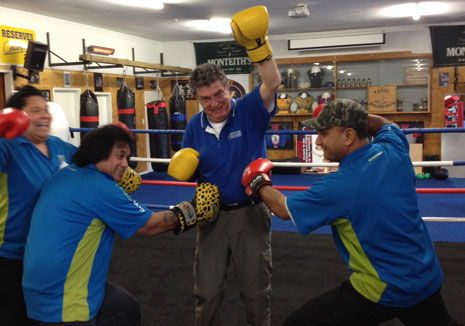 Block those low blows, Adam! CrestClean Kapiti Franchisees traded cleaning gloves for boxing gloves after a recent training course.