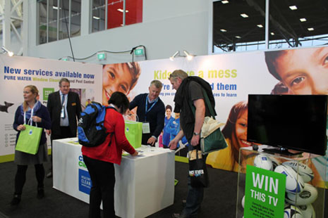 CrestClean's spacious booth filled quickly with people interested in our products and services.