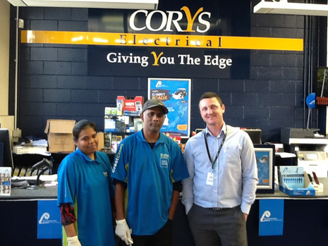 Franchisees Kamini and Ashveen Raju with Charles Bush, Branch Manager of Corys Electrical Silverdale.