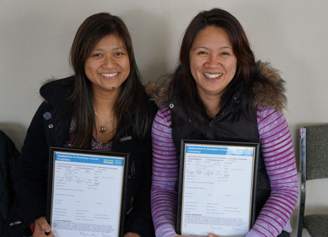 CrestClean's Jackie Batoy and Julie Cacdac with New Franchisee applications already filled out and ready to go for when their new babies turn 18.