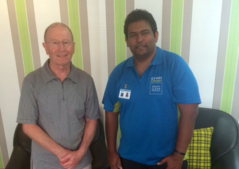 CrestClean franchisee Neil Prasad makes a happy customer of Eyede's John Newman.