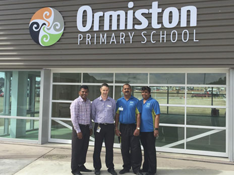 The CrestClean team of Salen and Rakeshni Prasad will be keeping the brand new Ormiston Primary School clean for Principal Heath McNeil and his young students.