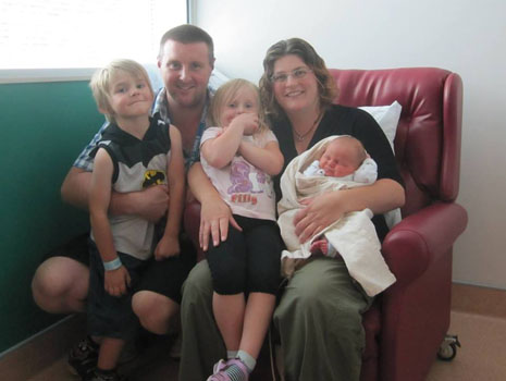 James and his wife, Marlen, and their children Luca and Elina, and their brand new brother, Stellan.