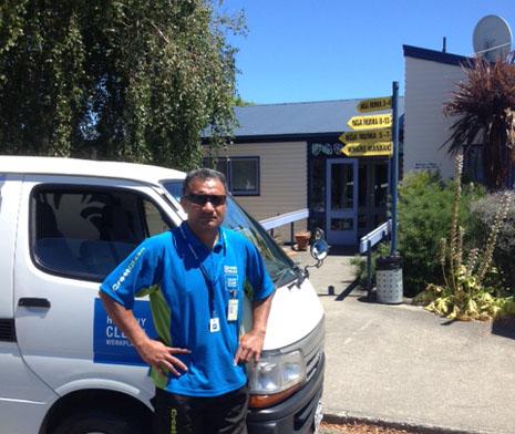 Tepuke Pola and his CrestClean team impressed the principal and staff at Otaki School.