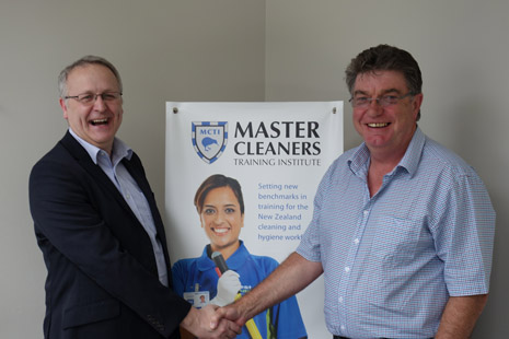 BICSc International General Manager Colin Hanks congratulating Adam Hodge on another successful audit at Master Cleaners Training Institute.