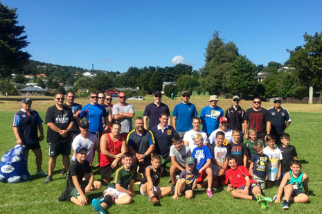 Coaches from Pukekohe with John Leslie and the 12-13 year olds who demonstrated the skills drills at a recent clinic for junior rugby team coaches.