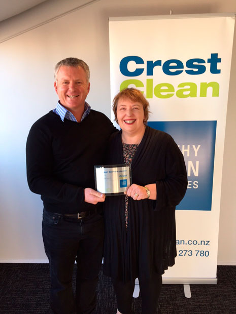 CrestClean Managing Director Grant McLauchlan presented Customer Services Manager Dellece McFarlane with a 10 year plaque in recognition of her long service.