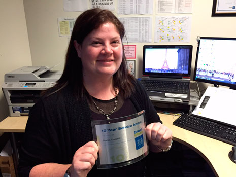 Financial Controller Sharon Churchill recently celebrated 10 years with CrestClean.
