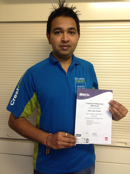 Christchurch North CrestClean franchisee Dan Mahida is better equipped after completing training through the Master Cleaners Training Institute and CrestClean.