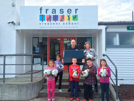 "Fraser Crescent School Principal John Channer was thrilled to receive a new 32"" Panasonic TV and 27 rugby balls after he won the CrestClean competition at the New Zealand Principal's Federation Conference."