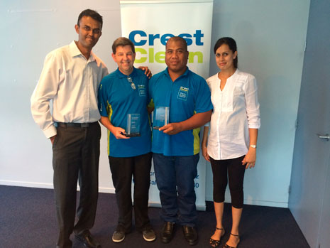 North Harbour Regional Managers Neil and Rachel Kumar were proud to present Franchisees of the Year Jim McManus and Bura Takinoa with their awards.